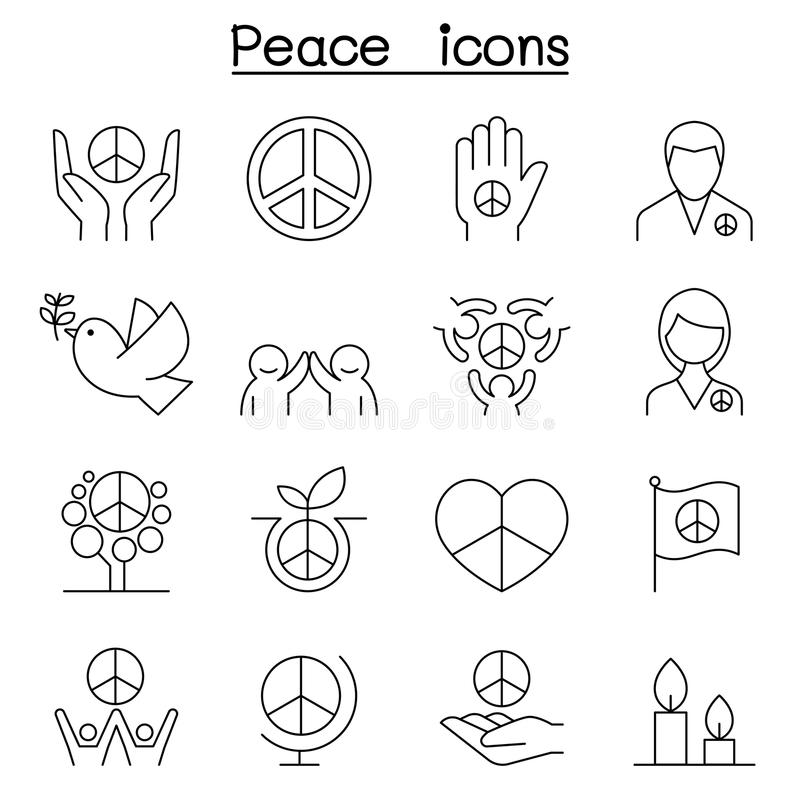 Icona di pace messa nella linea stile sottile royalty illustrazione gratis