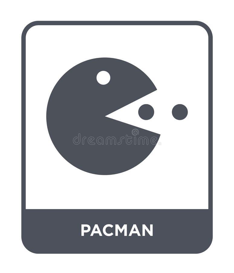 icona di pacman nello stile d'avanguardia di progettazione icona di pacman isolata su fondo bianco simbolo piano semplice e moder illustrazione di stock
