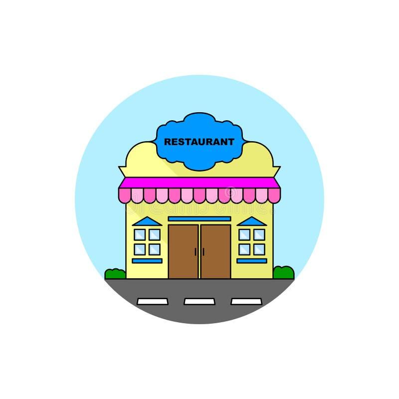 Icona di paesaggio urbano della costruzione del ristorante royalty illustrazione gratis