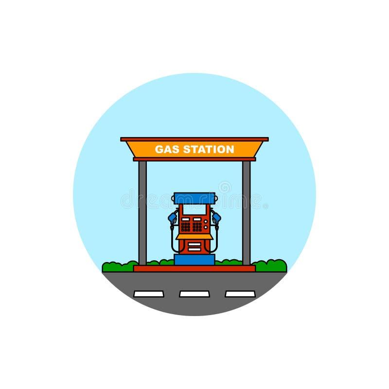 Icona di paesaggio urbano della costruzione della stazione di servizio illustrazione di stock