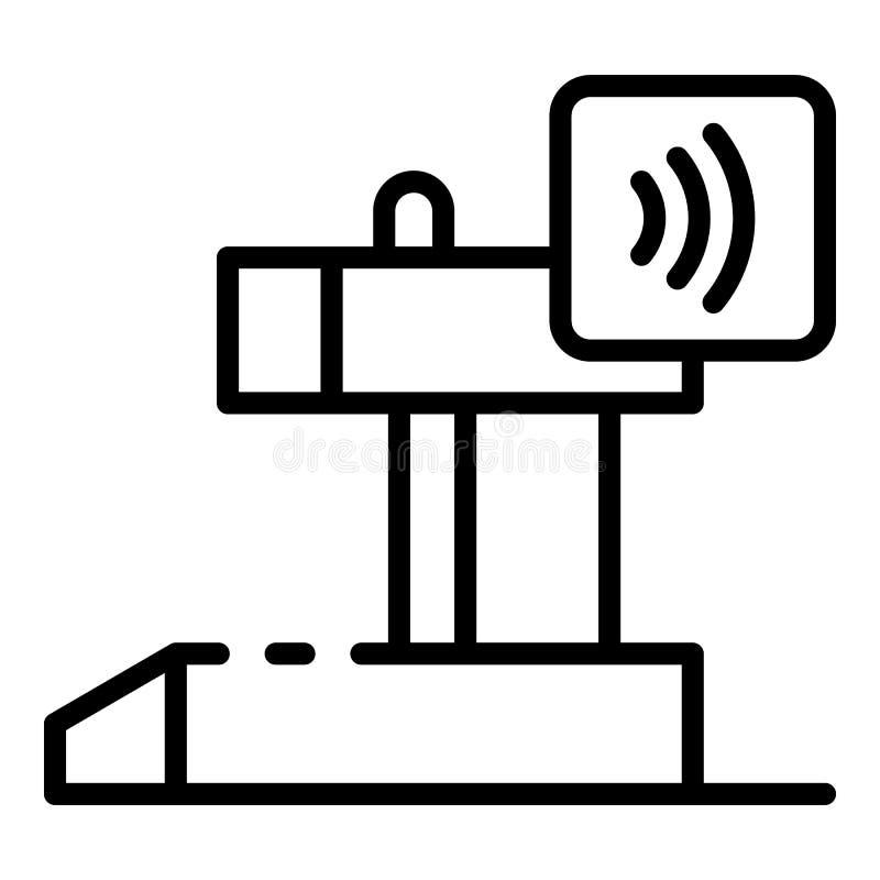 Icona di pagamento del nfc del cassiere, stile del profilo illustrazione di stock