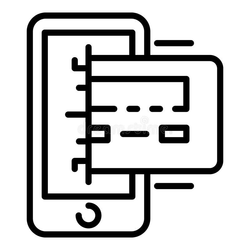 Icona di pagamento della carta di Smartphone, stile del profilo royalty illustrazione gratis