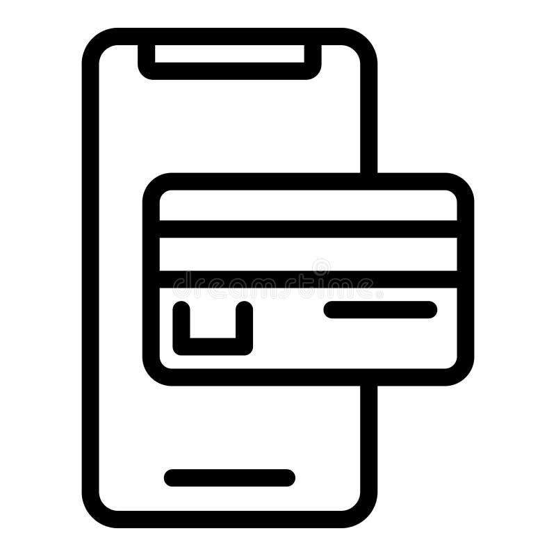 Icona di pagamento di Smartphone, stile del profilo illustrazione di stock