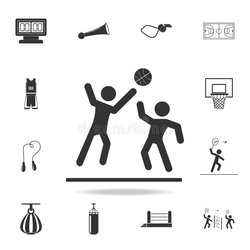 icona di pallacanestro di due giochi Insieme dettagliato delle icone degli accessori e degli atleti Progettazione grafica di qual illustrazione vettoriale