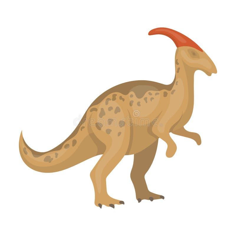 Icona di Parasaurolophus del dinosauro nello stile del fumetto isolata su fondo bianco Dinosauri ed azione preistoriche di simbol illustrazione di stock