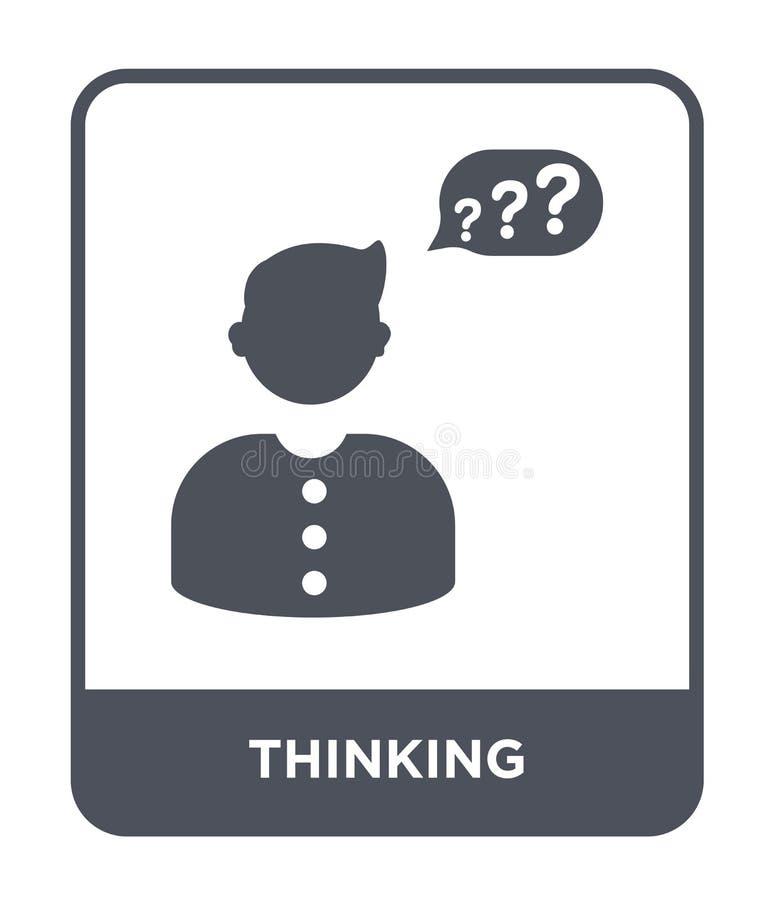 icona di pensiero nello stile d'avanguardia di progettazione Icona di pensiero isolata su fondo bianco piano semplice e moderno d illustrazione vettoriale