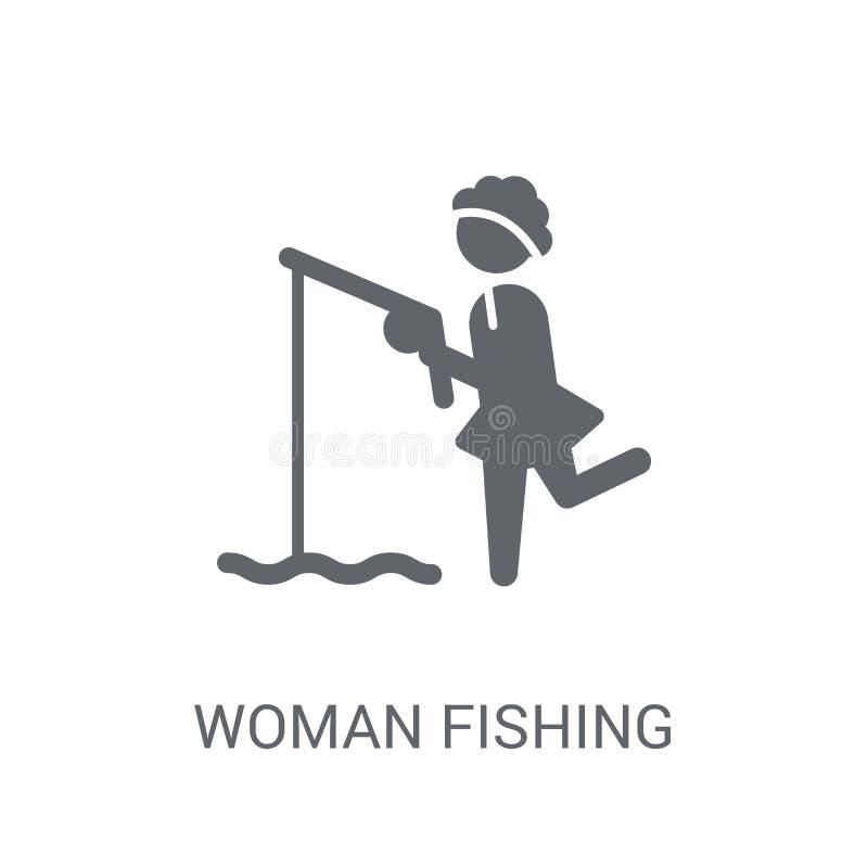Icona di pesca della donna Concetto d'avanguardia di logo di pesca della donna sulla b bianca illustrazione vettoriale