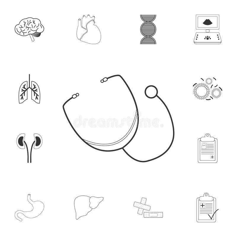 Icona di Phonendoscope Illustrazione semplice dell'elemento Progettazione di simbolo di Phonendoscope dall'insieme medico della r illustrazione vettoriale