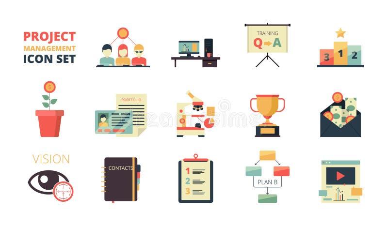 Icona di pianificazione di progetto La gestione di strategia aziendale elabora il sistema del crm del cruscotto dello sviluppo di illustrazione vettoriale