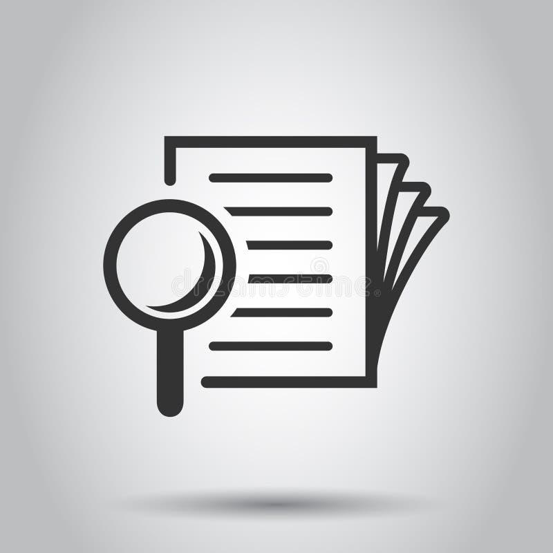 Icona di piano del documento di esame accurato nello stile piano Illustrazione di vettore di dichiarazione di rassegna su fondo b illustrazione di stock