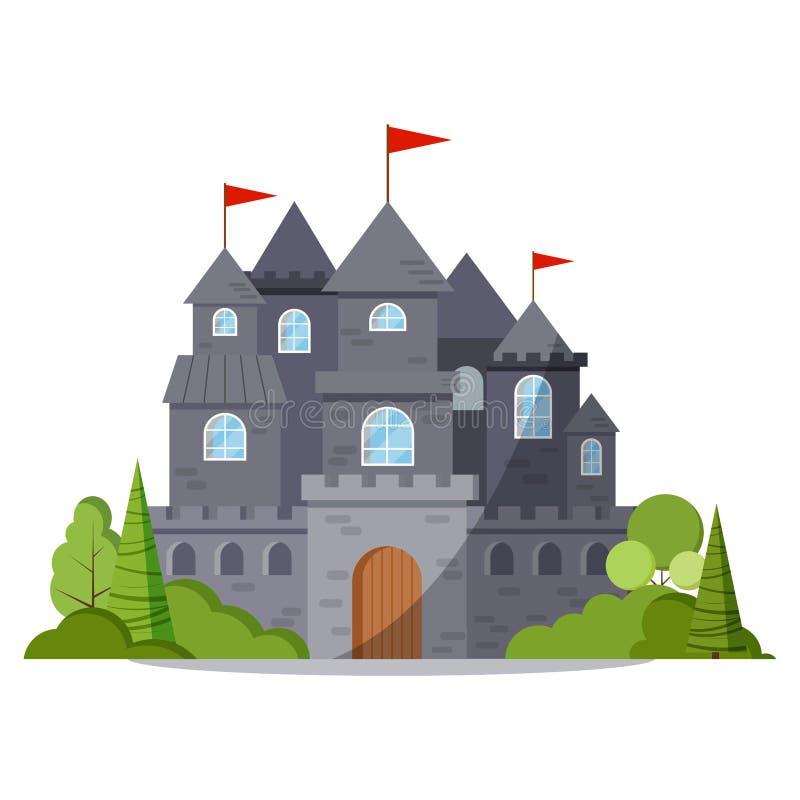 Icona di pietra grigia della torre del castello di fiaba del fumetto con gli alberi ed i cespugli verdi, bandiera rossa illustrazione di stock