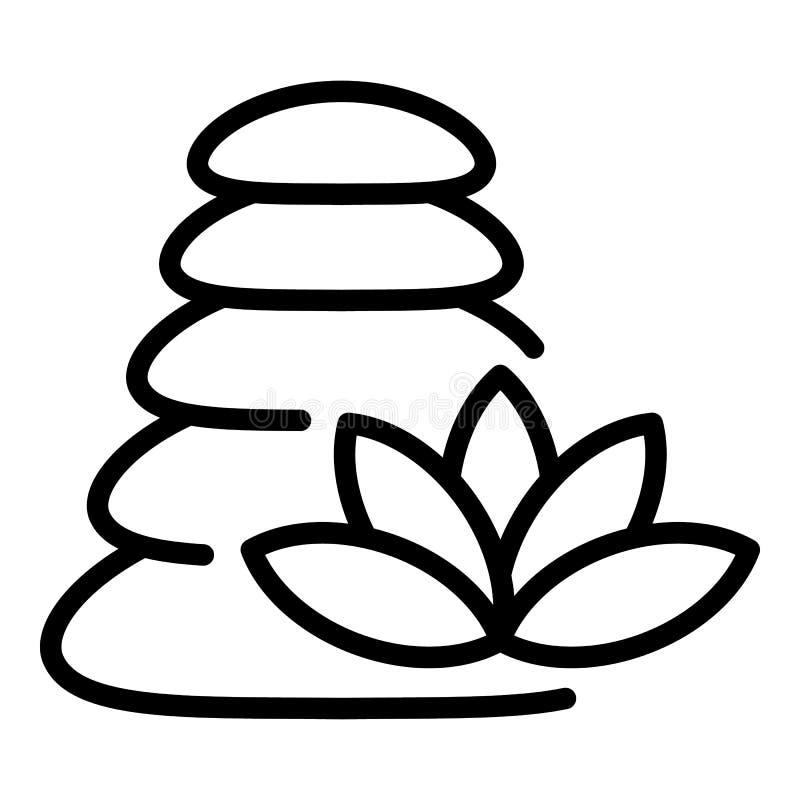 Icona di pietra di massaggio della pila, stile del profilo royalty illustrazione gratis