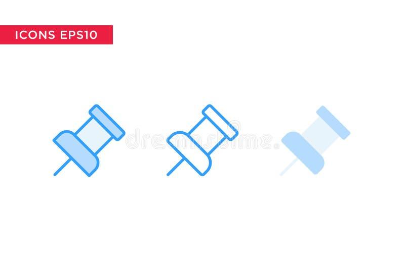 Icona di Pin nella linea, nel profilo, nel profilo riempito e nello stile piano di progettazione isolati su fondo bianco Vettore  royalty illustrazione gratis