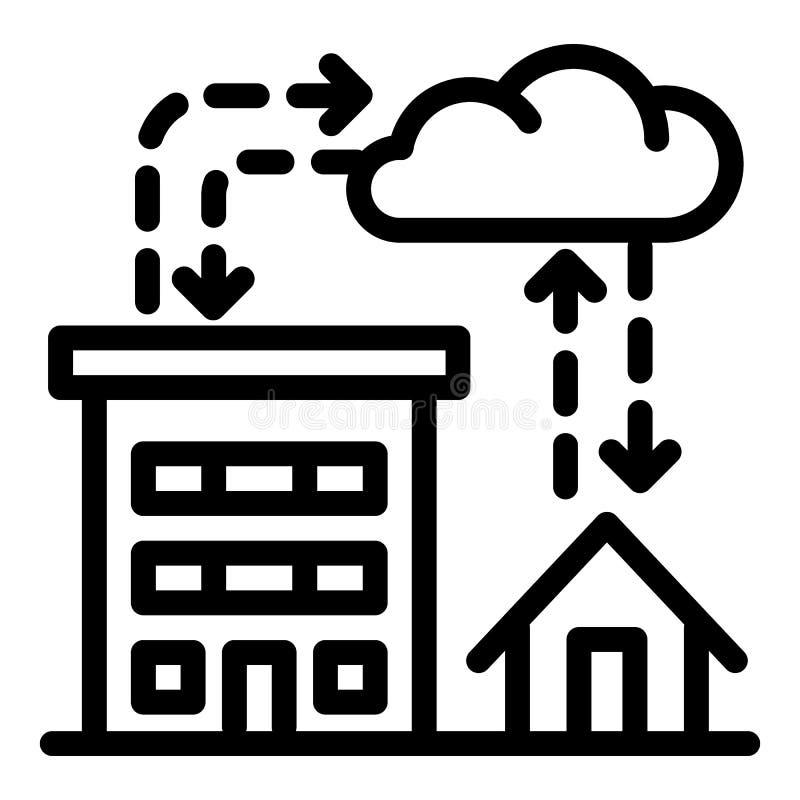 Icona di piovosità della città, stile del profilo illustrazione vettoriale