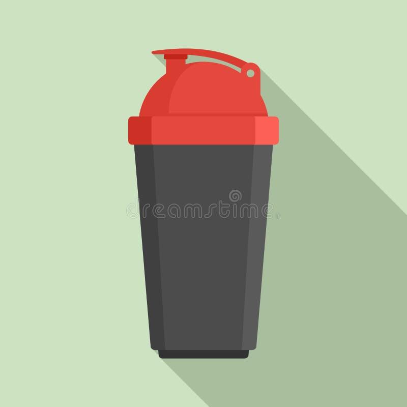 Icona di plastica della bottiglia dell'agitatore, stile piano illustrazione di stock