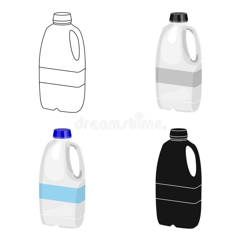 Icona di plastica della bottiglia per il latte di gallone nello stile del fumetto isolata su fondo bianco Prodotto lattiero-casea royalty illustrazione gratis