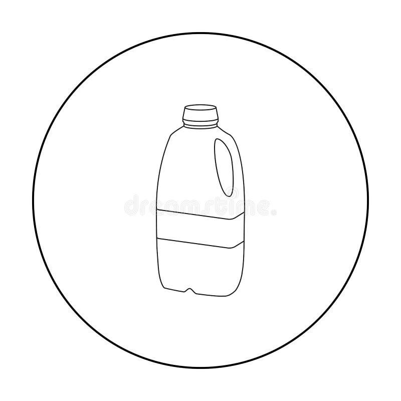 Icona di plastica della bottiglia per il latte di gallone nello stile del profilo isolata su fondo bianco Prodotto lattiero-casea illustrazione di stock