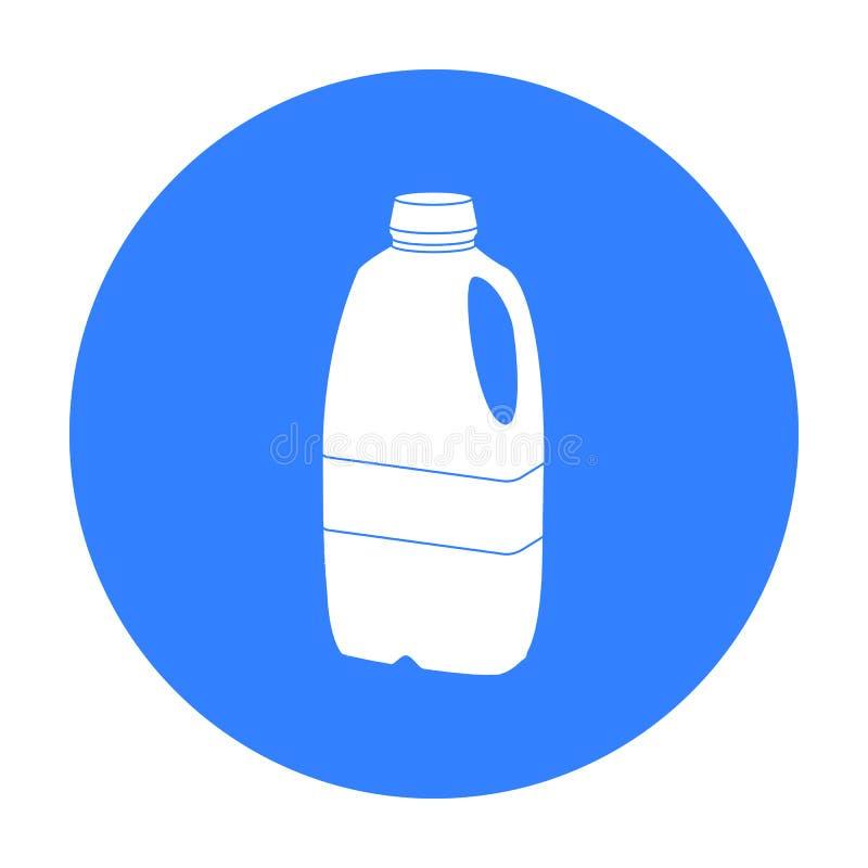 Icona di plastica della bottiglia per il latte di gallone nello stile nero isolata su fondo bianco Prodotto lattiero-caseario e v royalty illustrazione gratis