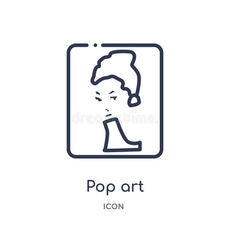 Icona di Pop art dalla raccolta del profilo del museo Linea sottile icona di Pop art isolata su fondo bianco royalty illustrazione gratis