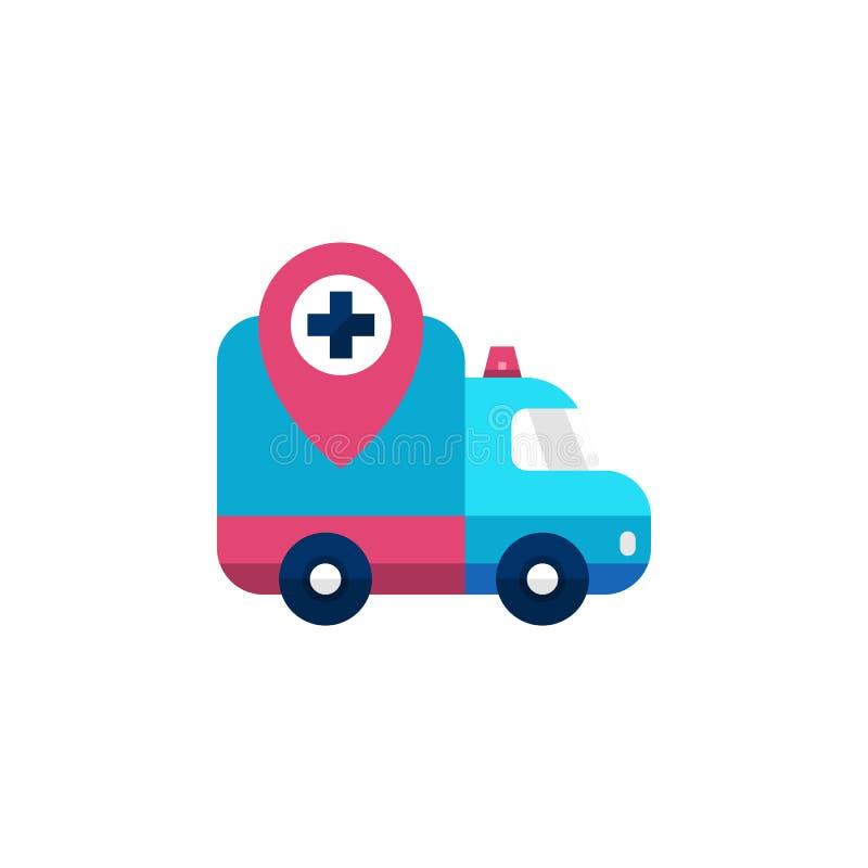 Icona di posizione della pista dell'ambulanza Automobile di emergenza dell'ospedale con l'illustrazione dell'indicatore di posizi illustrazione di stock
