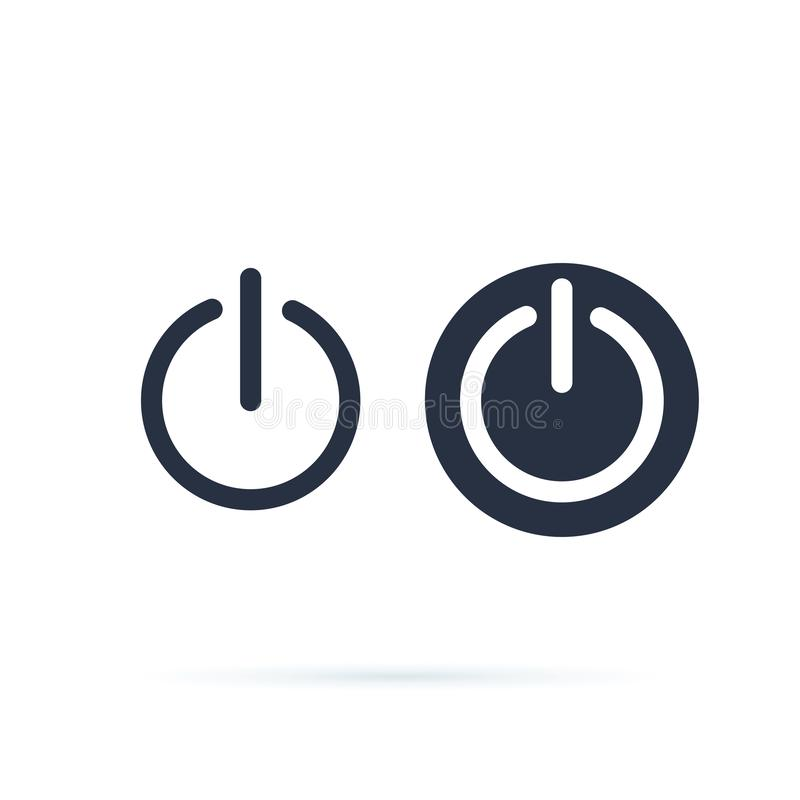Icona di potere Icona dell'interruttore di accensione Interrotto, simbolo inserita/disinserita del commutatore Linea ed icone sol illustrazione di stock