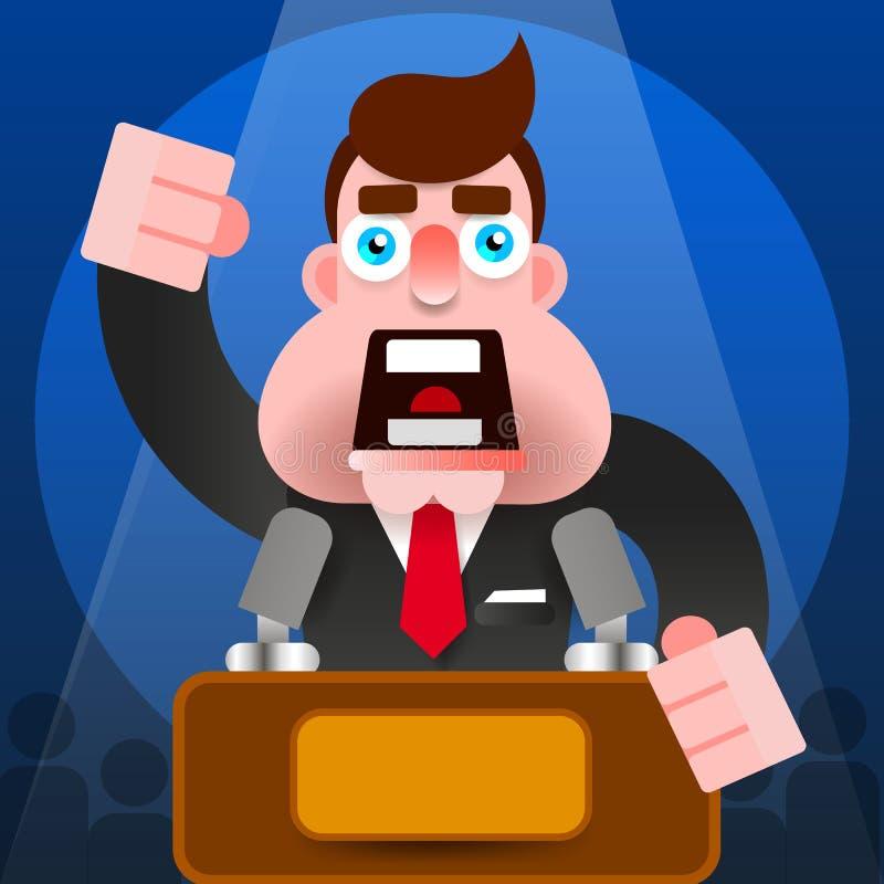 Icona di presidente Speech With Podium - vettore del carattere dell'altoparlante pubblico illustrazione di stock