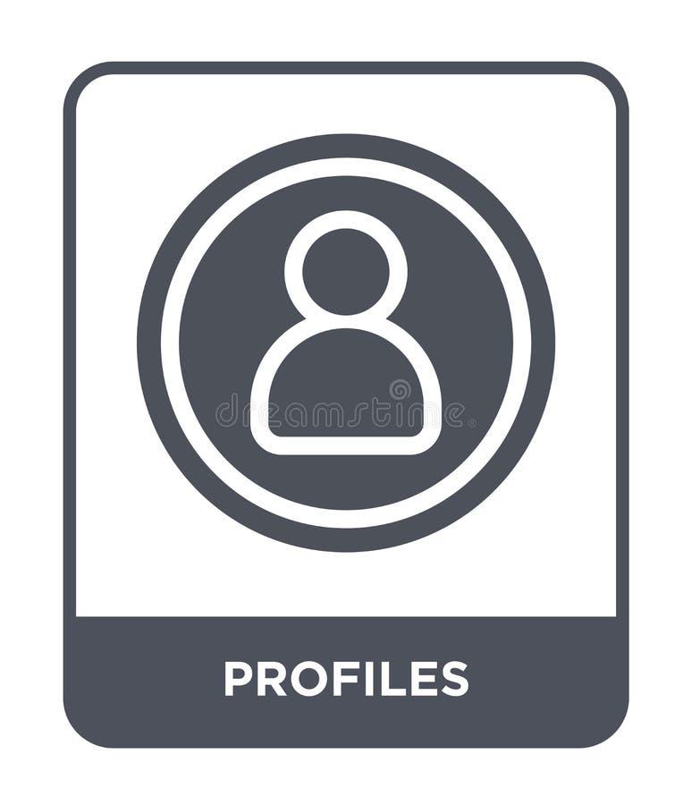 icona di profili nello stile d'avanguardia di progettazione icona di profili isolata su fondo bianco piano semplice e moderno del illustrazione di stock