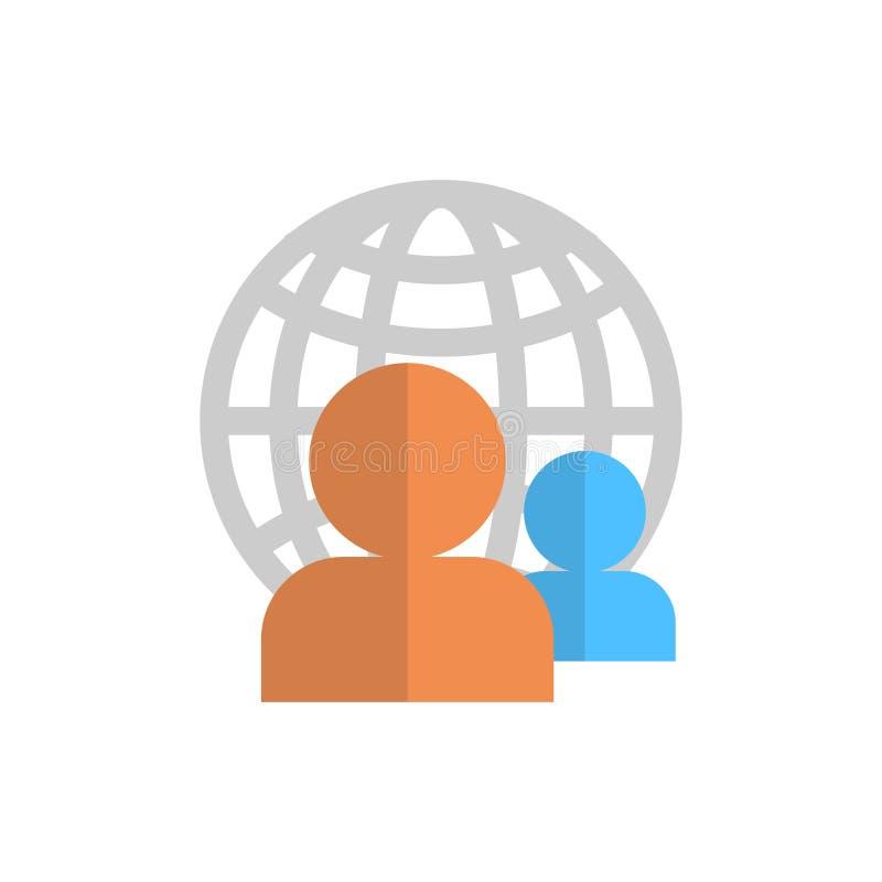 Icona di profilo sopra l'avatar del membro dell'utente del gruppo del globo del mondo illustrazione vettoriale