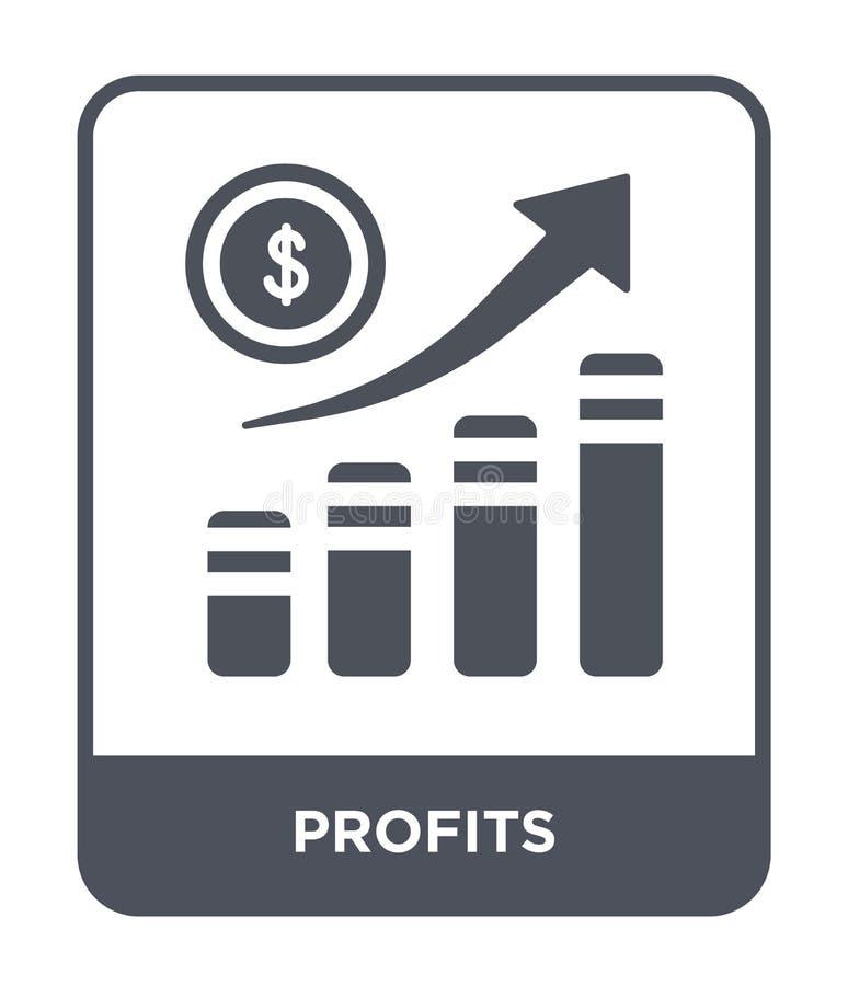 icona di profitti nello stile d'avanguardia di progettazione icona di profitti isolata su fondo bianco simbolo piano semplice e m illustrazione vettoriale