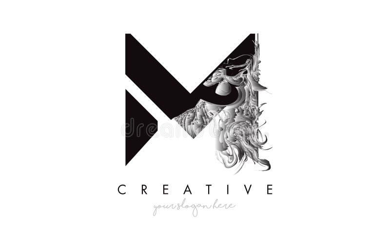 Icona di progettazione logo M Lettera con texture di gru artistica in bianco e nero illustrazione di stock