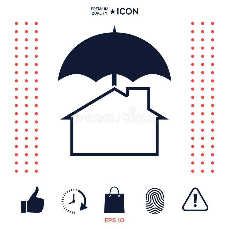 Download Icona Di Protezione E Di Sicurezza Casa Sotto L'ombrello Illustrazione Vettoriale - Illustrazione di cura, background: 117976763