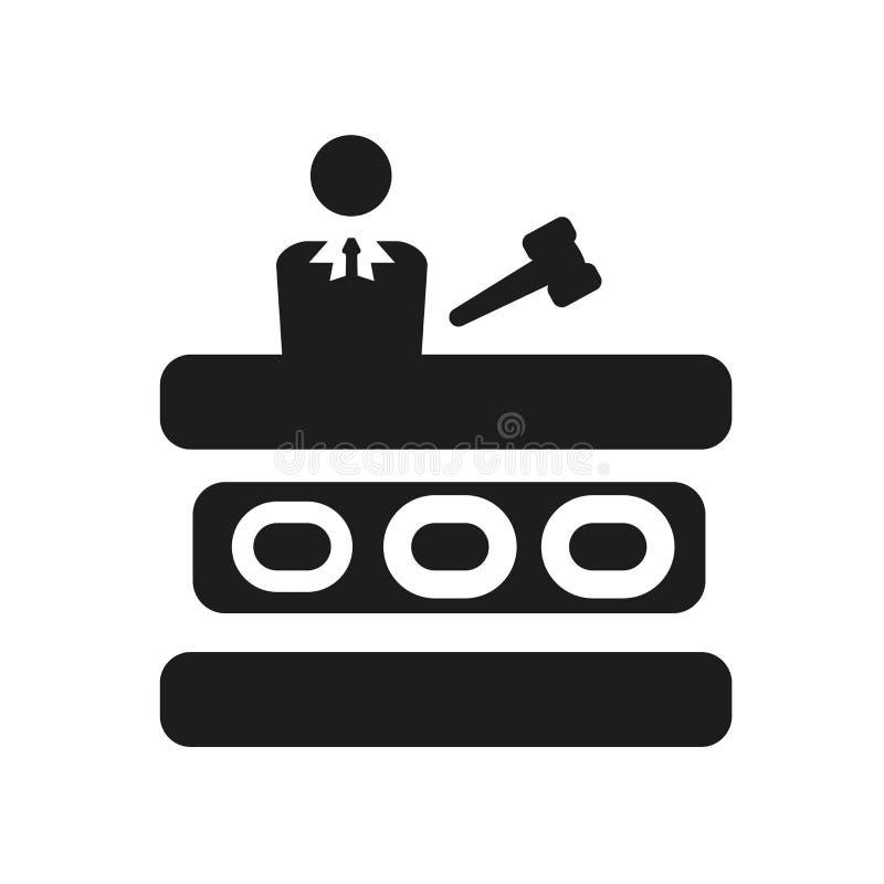 icona di prova di corte Concetto d'avanguardia di logo di prova di corte su backg bianco illustrazione di stock