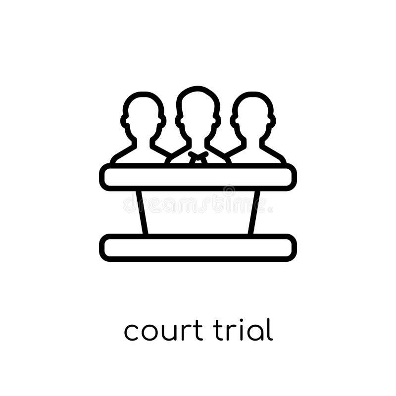 icona di prova di corte Prova di corte lineare piana moderna d'avanguardia di vettore i royalty illustrazione gratis