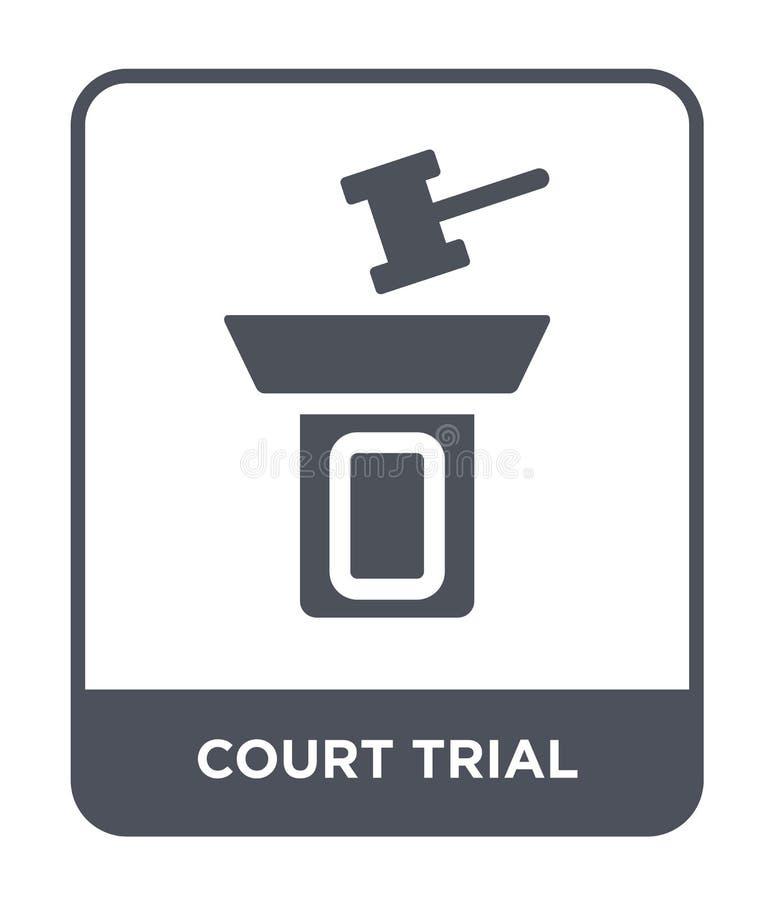 icona di prova di corte nello stile d'avanguardia di progettazione icona di prova di corte isolata su fondo bianco icona di vetto illustrazione di stock