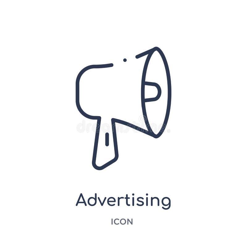 Icona di pubblicità lineare dalla raccolta del profilo di economia di Digital Linea sottile vettore di pubblicità isolato su fond illustrazione vettoriale
