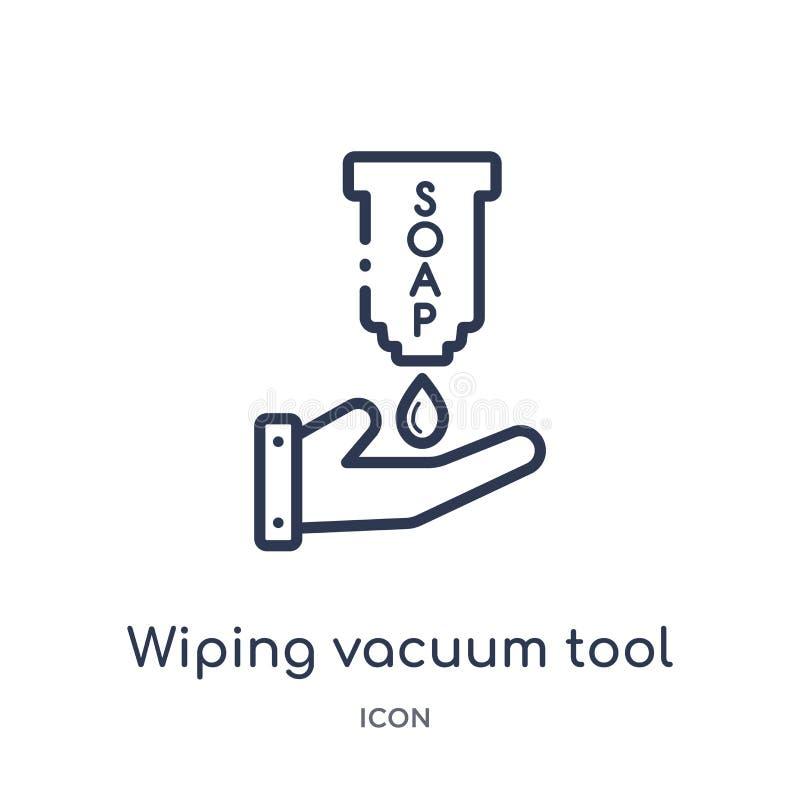 Icona di pulitura lineare dello strumento di vuoto dalla raccolta di pulizia del profilo Linea sottile che pulisce vettore dello  royalty illustrazione gratis
