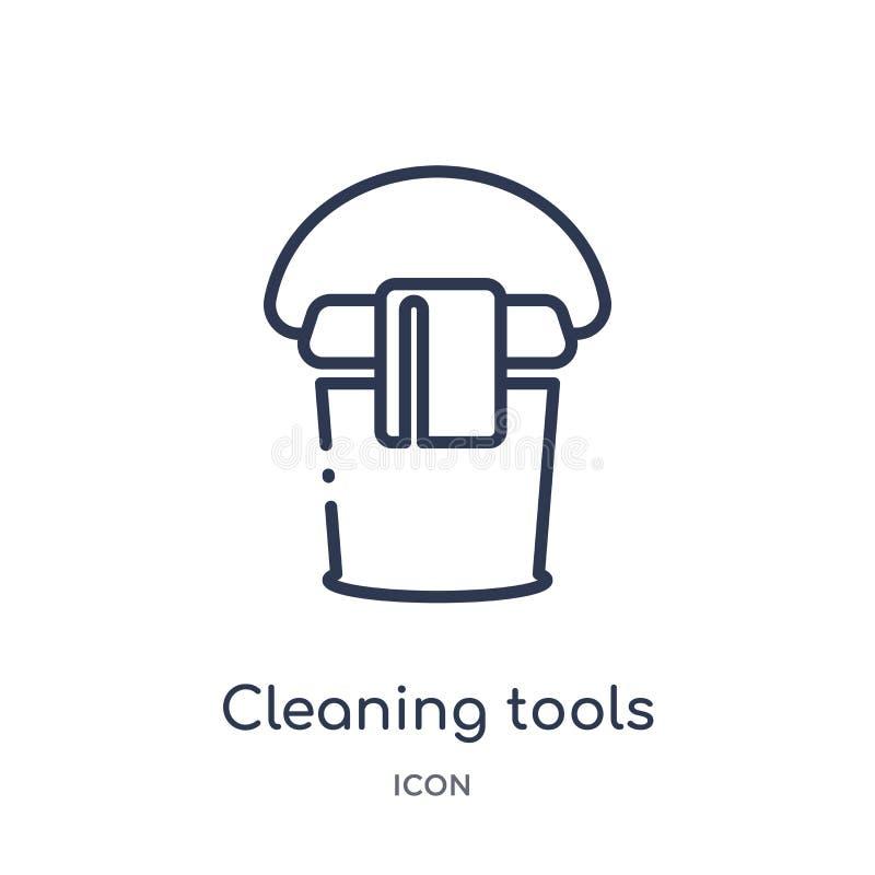 Icona di pulizia lineare degli strumenti dalla raccolta di pulizia del profilo Linea sottile vettore di pulizia degli strumenti i royalty illustrazione gratis