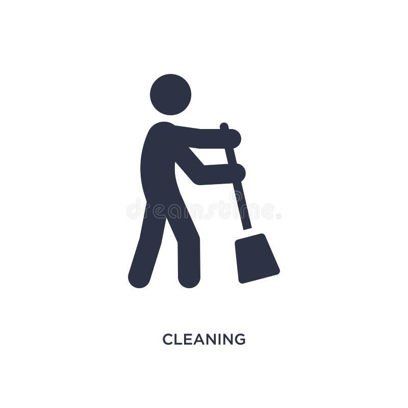 Icona di pulizia su fondo bianco Illustrazione semplice dell'elemento dal concetto di attività illustrazione vettoriale