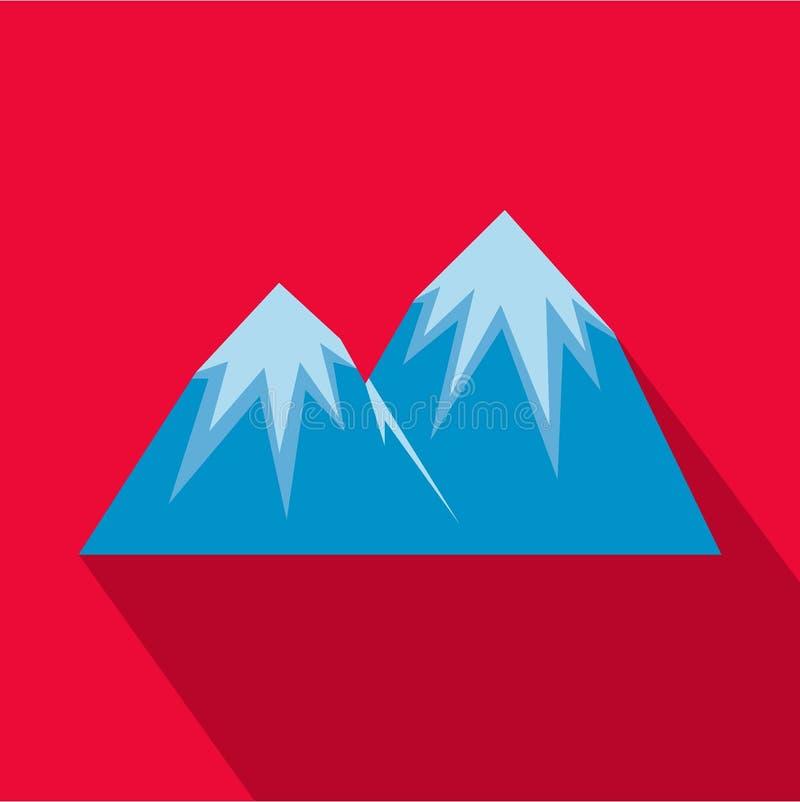 Icona di punta della neve, stile piano illustrazione vettoriale