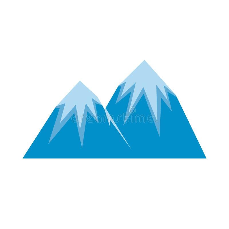 Icona di punta della neve, stile piano illustrazione di stock