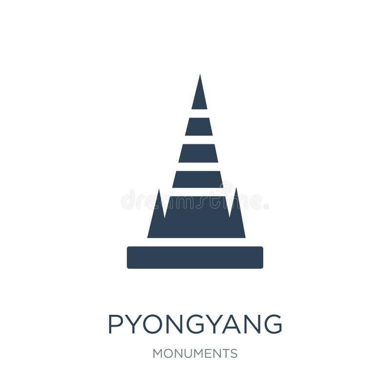 icona di Pyongyang nello stile d'avanguardia di progettazione icona di Pyongyang isolata su fondo bianco piano semplice e moderno royalty illustrazione gratis