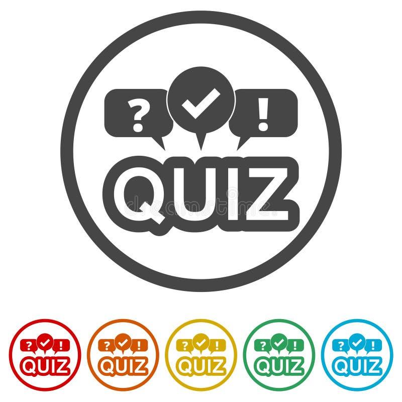 Icona di quiz, 6 colori inclusi illustrazione vettoriale