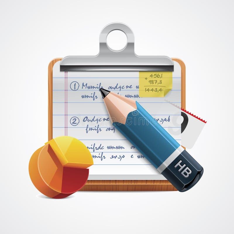 Icona di rapporto di scrittura di vettore illustrazione di stock