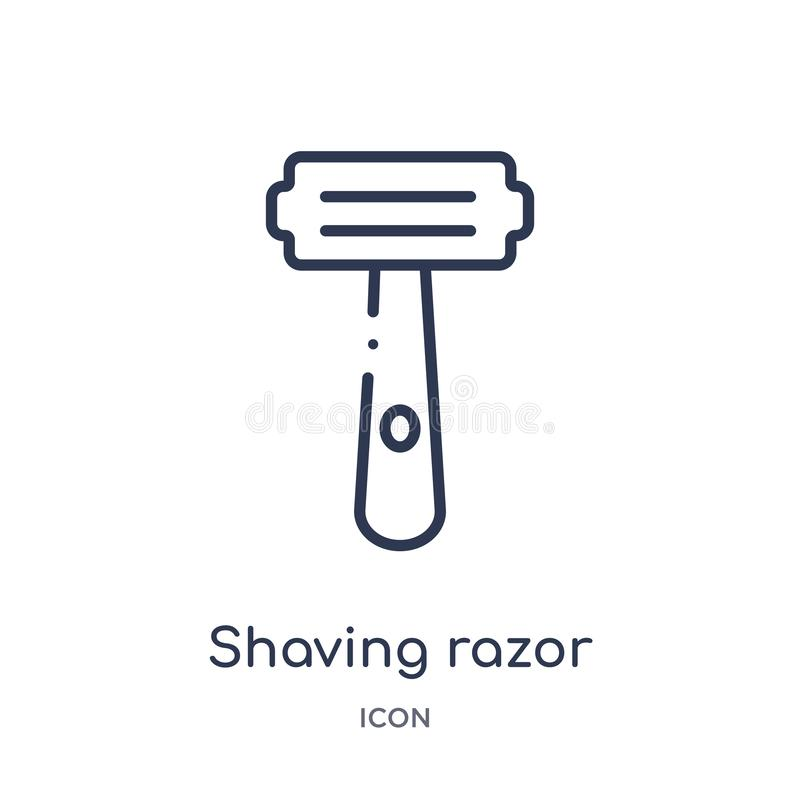 Icona di rasatura lineare del rasoio dalla raccolta del profilo di igiene Linea sottile che rade l'icona del rasoio isolata su fo illustrazione di stock
