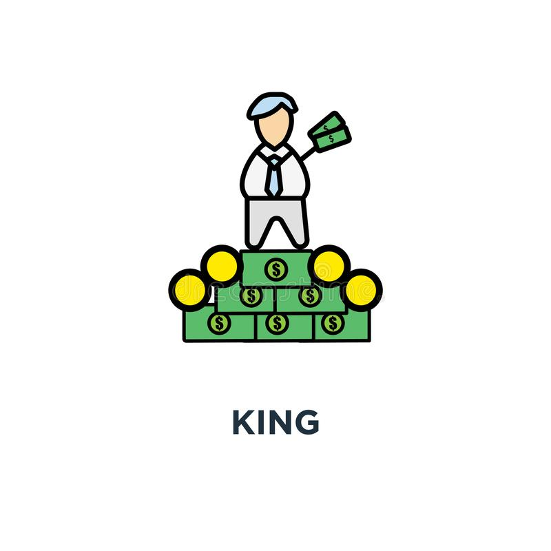 Icona di re il capo ricco, successo, personaggio dei cartoni animati sveglio di divertimento con la corona fantastica e sedendosi illustrazione vettoriale