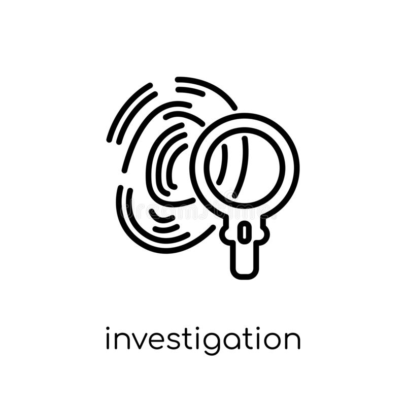 Icona di ricerca Vettore lineare piano moderno d'avanguardia Investigati royalty illustrazione gratis
