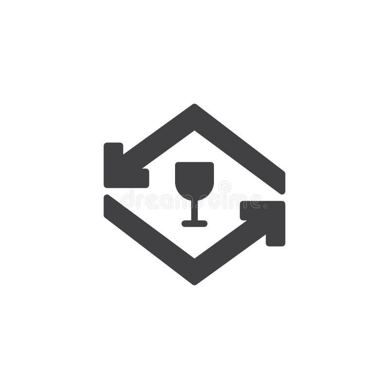 Icona di riciclaggio di vetro di vettore delle frecce illustrazione vettoriale