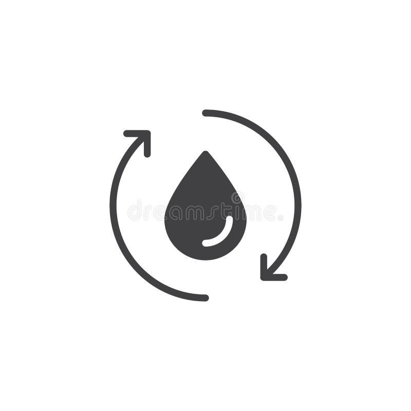 Icona di riciclaggio di vettore delle frecce della goccia di acqua illustrazione vettoriale