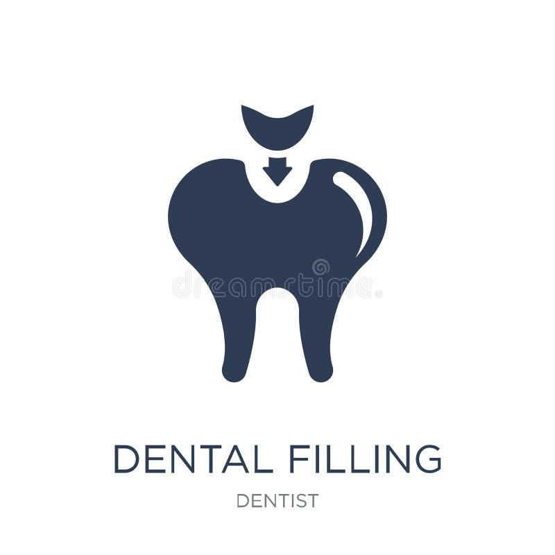 Icona di riempimento dentaria Icona di riempimento dentaria di vettore piano d'avanguardia su w illustrazione vettoriale