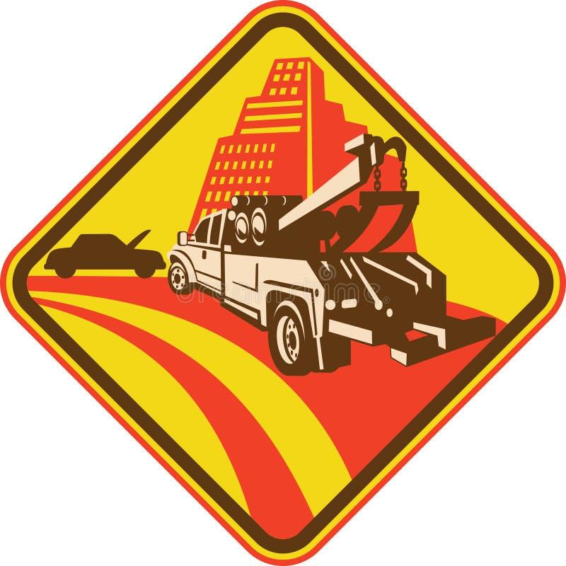Icona di riparazione del camion e dell'automobile di rimorchio royalty illustrazione gratis